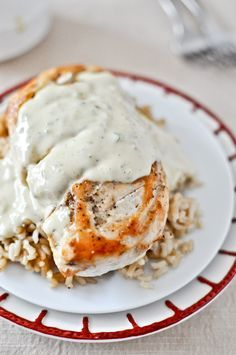 caramelized chicken with jalapeno cream.