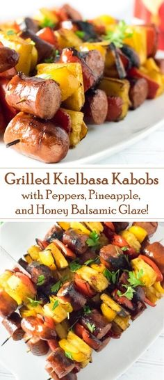 Grilled Kielbasa Kabobs with Balsamic Honey Glaze Grilled Kielb. - Grilled Kielbasa Kabobs with Balsamic Honey Glaze Grilled Kielb. - Grilled Kielbasa Kabobs with Balsamic Honey Glaze Healthy Chicken Recipes, Pork Recipes, Cooking Recipes, Recipes With Kielbasa, Barbecue Recipes, Recipes With Peppers, Barbecue Sauce, Summer Grilling Recipes, Recipes With Grilled Sausage