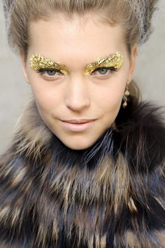 Metallic trend at full force seen with backstage beauty at Milan for Fendi ss 2012.