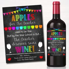 Printable teacher appreciation, teacher wine label, gift from student teach