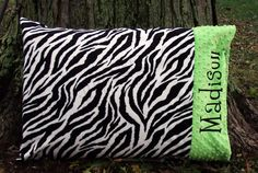 Hey, I found this really awesome Etsy listing at http://www.etsy.com/listing/101457766/minky-pillowcase-zebra-minky-lime-minky