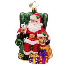 Christopher Radko Glass Paws and Claus Santa Christmas Ornament