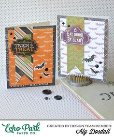 *Echo Park* Halloween Stenciled Card Set - Scrapbook.com - Create a fantastic card front using a Halloween stencil that these bats by Echo Park.