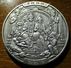 Sita Ram with Hanuman coin. Hindu Vedas, Hindu Deities, Jai Sri Ram, Shri Ram Photo, Hanuman Chalisa, Hanuman Pics, Durga, Lord Rama Images, Shri Yantra