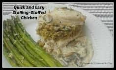 Try these quick and easy stuffing-stuffed chicken breasts with mushroom sauce!  It looks like it takes a lot of time, but it soooo doesn't (that will be our little secret!).