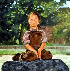 CLÀUDIA SOMRIENT (2013) FIGURA 80X80cm OLI SOBRE FUSTA ENTELADA  #barcelona #mercearmengol #artista #ilustradora #pintora #cuento #infantil #retrato #retratoporencargo