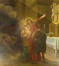 Questa tela ritrae Rita che, mostrando ai figli giovinetti il Crocefisso, li esorta a perdonare gli assassini del padre.