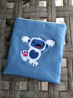 Zippered embroidered Baby Yeti pouch on Etsy, $5.00