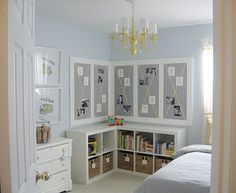2 Ikea Expedit bookcases as corner shelving - Beth's bedroom?