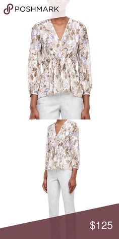 Rebecca Taylor Penelope Top in Sky Blue My favorite overblown floral brings fresh dimension to this breezy blouse. Finished with gathering at the waist, it pairs easily with the season's wide-leg jeans and suede slides. Brand new with tags Rebecca Taylor Tops Blouses