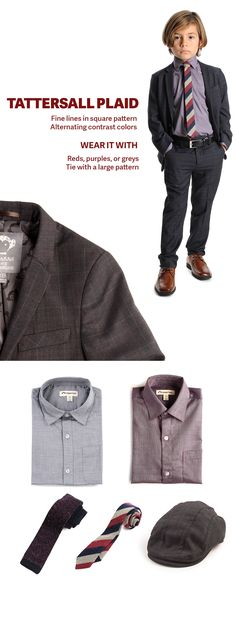 Tattersall Plaid is a square pattern consisting of alternating contrast colors. This dark navy suit has hints of reds/purples and makes a great cold-weather suiting choice. Try it with warm greys and reds, or with textured ties and accessories.