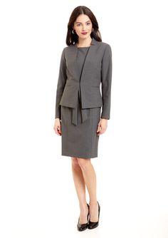 A nice alternative to the classic suit  TAHARI ARTHUR S. LEVINE Bi-Stretch Jacket Dress with Self Belt