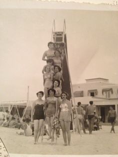 Fabulous Cuban ladies in such classic bathing suits in Cuba circa 1950 ... My grandma 4th from the top. Paz Georgina. Fabulously amazing woman!