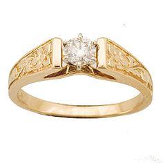 14K Hawaiian Diamond Plumeria Petite Ring - 1/4ct| Royal Hawaiian Heritage Jewelry