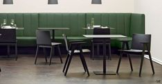 Fifties style chair with a solid wood frame, armrests and plywood seat. Colour finishes include ash, black, cognac and mahogany. Wood Chairs, Cafe Chairs, Cafe Furniture, Fifties Fashion, Cafe Bar, Black Wood, Restaurant Bar, Solid Wood, Space