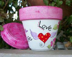 Items similar to Hand Painted Terra Cotta. Original on Etsy Flower Pot Art, Clay Flower Pots, Flower Pot Crafts, Flower Boxes, Flowers, Painted Clay Pots, Painted Flower Pots, Hand Painted, Clay Pot Projects