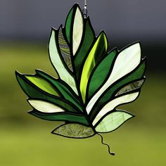 Stained glass green maple leaf suncatcher, stain glass fall leaf ornament on Etsy
