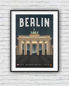 A stunning illustration of Berlin's iconic Brandenburg Gate. New print added at Redpostbox  ww.etsy.com/shop/redpostbox