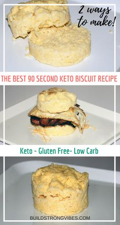 Garlic and cinnamon biscuit recipes. Keto friendly, low carb, gluten free, 90 second microwave bread or biscuit! Fast, easy, convenient and delicious!