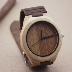 The bamboo wooden watch is equipped with high quality Japan quartz movement. Diameter of the dial 1.7 inches. Strap is made of genuine leather. #bamboo #watch