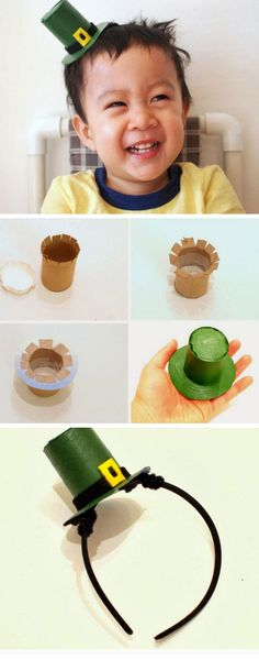 Leprechaun Hat Headband | DIY St Patricks Day Crafts for Toddlers to Make