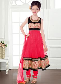 Alluring Pink Net Kids Wear Anarkali Salwar Suit