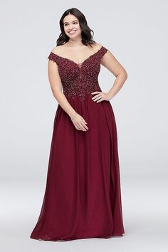 This chiffon sheath plus-size dress is full of lovely details, like an off-the-shoulder neckline, a sheer corded lace bodice, and an illusion mesh back. By Blondie Nites Polyester Back zipper; fully lined Spot clean Imported Also available in regular Bridesmaid Dresses Plus Size, Plus Size Party Dresses, Sequin Prom Dresses, Wedding Dresses, Davids Bridal Plus Size, Military Ball Dresses, Maid Of Honour Dresses, Tulle Ball Gown, Necklines For Dresses