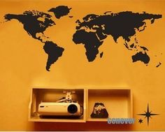 World Map Bedroom----Removable Graphic Art wall decals stickers home decor. $35.95, via Etsy.