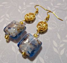 Earrings  Blue Square Beads  Gold Plated Across a by CraftyChic90, $6.00