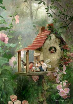 Fairy Print Mounted or unmounted or two Rainy Day Hideaway . Fairy Print Mounted or unmounted or two Fairy Pictures, Fairytale Art, Beautiful Fairies, Flower Fairies, Fairy Art, Magical Creatures, Whimsical Art, Fantasy Art, Fairy Tales