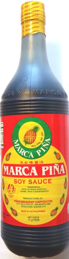 marca-pina-soy-sauce-1L Pinoy Food, Soy Sauce, Cleaning Supplies, Soap, Bottle, How To Make, Cleaning Materials, Flask, Bar Soap