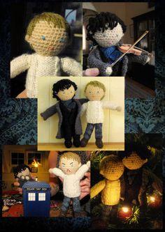Sherlock and Watson amigurumi!! http://zombiecupcake90.tumblr.com/post/6962711790/omg-amigurumi-sherlock-and-john