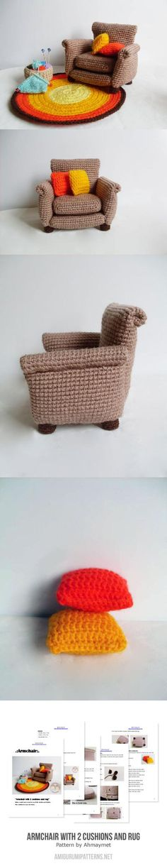 Armchair With 2 Cushions And Rug Amigurumi Pattern