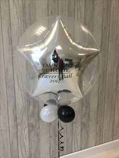 Taunton School leavers corporate design. We love these double stuffed balloons.