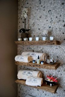 Solid Wood Live edge Slab Shelves - contemporary - wall shelves - toronto - by Urban Tree Salvage