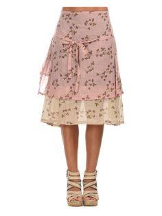 Rock ´´Junipa´´ in Beige/ Rosa/ Hellbraun. Klielanger Damenrock von Ian Mosh - raffinierte Lagen - bequemer Gummibund - dekorativer Bindegürtel - florale Musterung Farbe: pink/braun/beige Material: 100% Baumwolle
