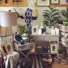 Navy and grey visual merchandising, shop display November 2015 at Boronia Lavish Abode. Home decor, gifts, interiors, furniture, homeware, kitchenware and more