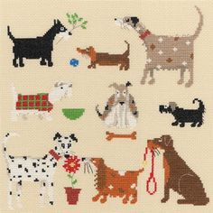Nine Dogs (counted cross stitch kit) Designer/Artist: Helen Smith Designs Publisher: Bothy Threads