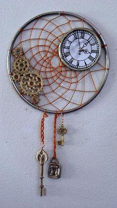 Clock Hourglass Time:  Steampunk Dream-Catcher #Clock.