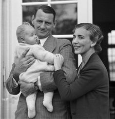 Queen Margrethe as a baby,  with her parents Queen Ingrid and King Frederik