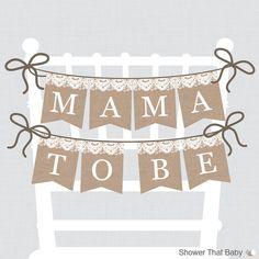 Burlap and Lace Baby Shower Chair Banner by ShowerThatBaby on Etsy, $4.00