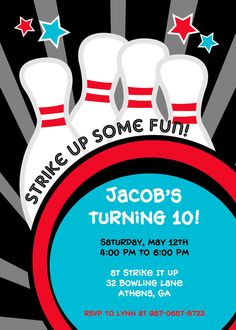 Bowling Birthday Invitation Cricut  Homemade Cards