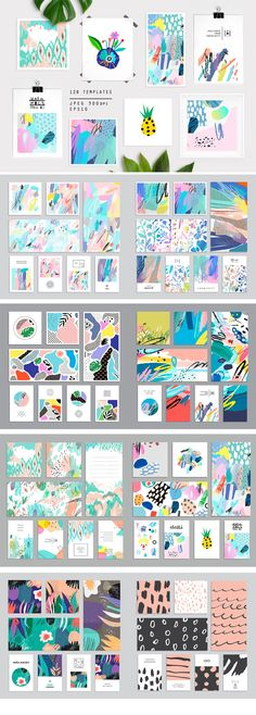 Abstract Elements Pink Purple Blue Clip Art Feminine Girly Graphics Stock Images for Wedding Invitations or Party Invites