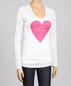 Look at this #zulilyfind! White & Pink Heart Burnout Top - Women & Plus by TROO #zulilyfinds