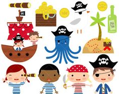 Pirates and Pirate Ship Digital Clip Art Set by CollectiveCreation Pirate Font, Pirate Theme, Boy Fonts, Painted Rocks, Hand Painted, Boy Art, Matching Games, Paint Party, Pebble Art