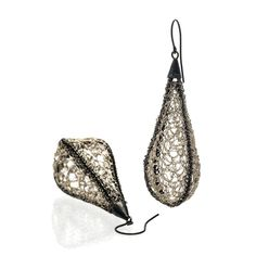 Crocheted Cocoons | PARTIALLY OXIDISED SILVER DROP EARRINGS - product image of SCHJ