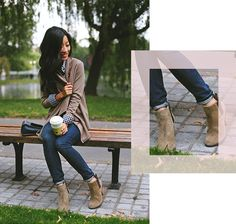 Style faq: how to wear booties with jeans Fall Outfits 2018, Fall Outfits For School, College Outfits, Ankle Boots With Jeans, How To Wear Ankle Boots, Jeans Style, Dresses For Work, Booty, Clothes For Women