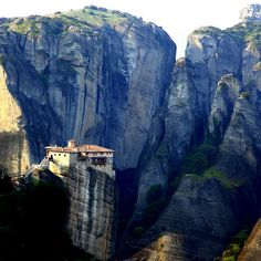 meteora, greece. when i saw this photo i gasped because it's so beautiful!