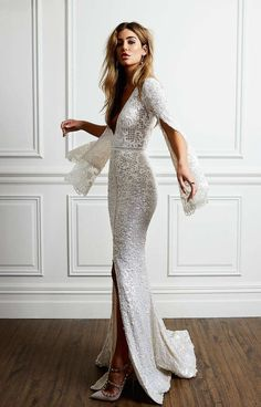 Boho Wedding Dress with Bell Sleeves, Pallas Couture La Blanché Bridal Collection | ElegantWedding.ca