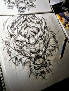 Follow @mike_tattoo on INSTAGRAM tiger demon tiger aggressive tiger tiger head tiger face angry tiger Tattoo Drawings, Tattoo Sketches, Cool Drawings, Art Sketches, Character Sketches, Tiger Face Tattoo, Tiger Tattoo Design, Tiger Design, Tattoo Designs